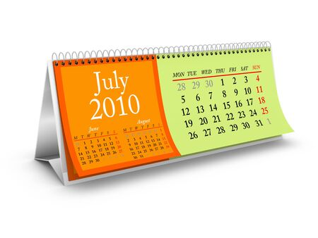 July 2010. Desktop Calendar Series. More pages available. Stock Photo