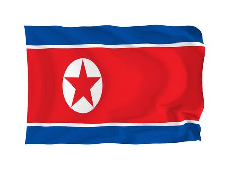 North Korea. High resolution Asian Flag series. With fabric texture. Stock Photo - 5855951