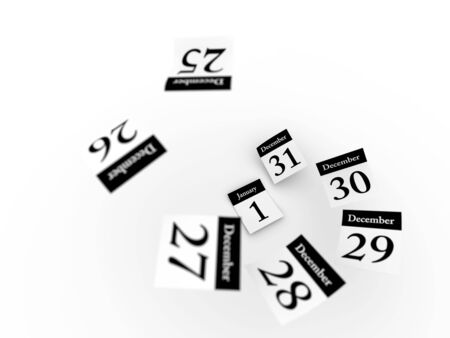 sylvester: Defocused Calendar pages flying away.Computer generated concept.