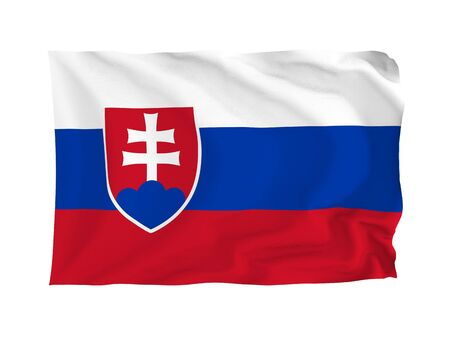 Slovakia. High resolution European Flag series. With fabric texture. Stock Photo