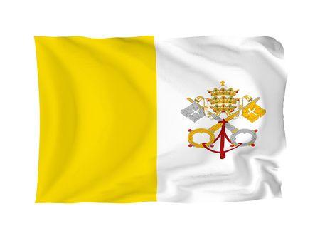 ciudad del vaticano: Ciudad del Vaticano. Serie de bandera europea de alta resoluci�n. Con textura de tejido.