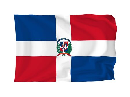 Dominican Island. High resolution North American Flag series. With fabric texture. photo