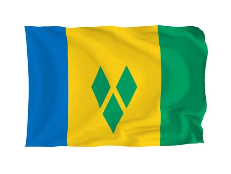 grenadines: Saint Vincent and the Grenadines. High resolution North American Flag series. With fabric texture.