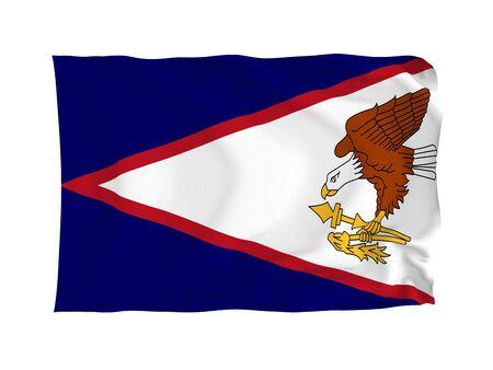 oceania: American Samoa. High resolution Oceania Flag series. With fabric texture. Stock Photo