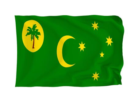 cocos: Cocos (Keeling) Islands. High resolution Oceania Flag series. With fabric texture. Stock Photo
