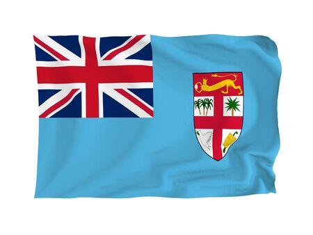 fiji: Fiji. High resolution Oceania Flag series. With fabric texture. Stock Photo