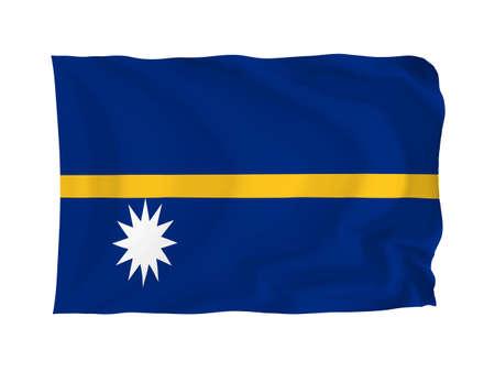 oceania: Nauro. High resolution Oceania Flag series. With fabric texture.