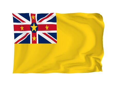niue: Niue. High resolution Oceania Flag series. With fabric texture.