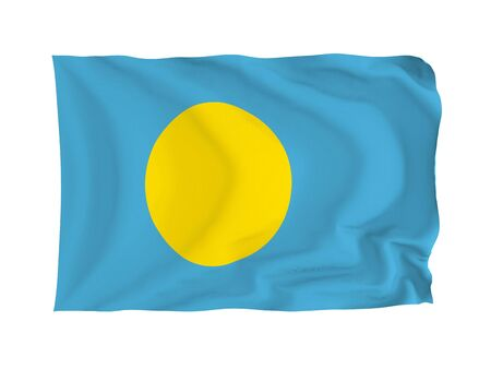 Palau. High resolution Oceania Flag series. With fabric texture. photo