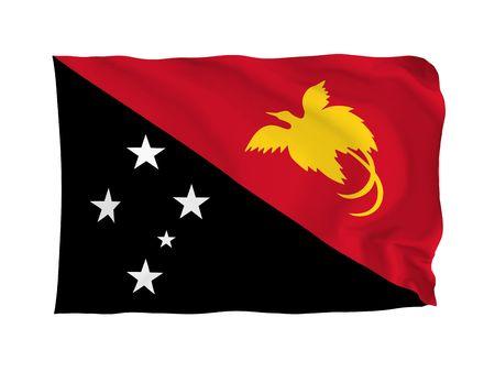 oceania: Papua New Guinea. High resolution Oceania Flag series. With fabric texture. Stock Photo