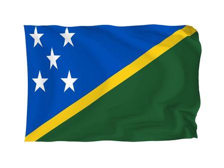 oceania: Solomon Islands. High resolution Oceania Flag series. With fabric texture. Stock Photo
