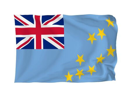 oceania: Tuvalu. High resolution Oceania Flag series. With fabric texture. Stock Photo