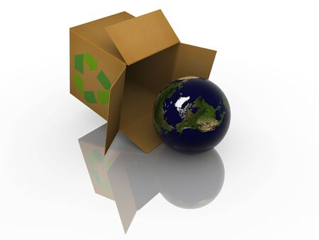 antipollution: Isolated earth in box. High resolution image with detailed texture.