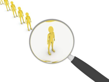 Investigation concept. Man in queue under magnifier Stock Photo - 6686666