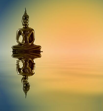 Buddha statue with reflections in the water. Meditation. photo