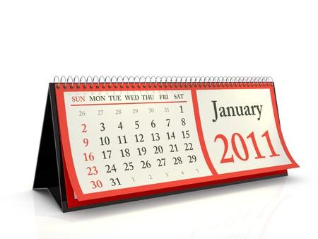 calendario escritorio: Calendario de escritorio de alta resoluci�n de 2011. La semana comienza con el domingo. Enero  Foto de archivo