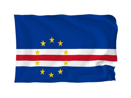 cape verde: Cape Verde. High resolution African Flag series. With fabric texture.