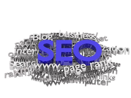 Search engine optimization. Conceptual image with keyword cloud around SEO letters.