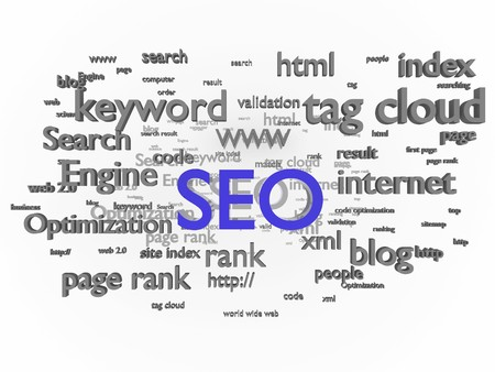 keyword: Search engine optimization. Conceptual image with keyword cloud around SEO letters.