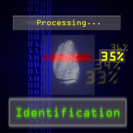 toegangscontrole: Afbeelding met hoge resolutie van biometrische vinger afdruk scannen voor identificatie. Nuttig voor toegang of beveiligings concepten.  Stockfoto