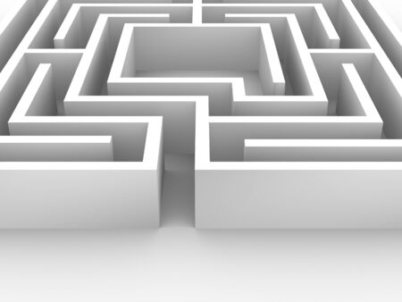 Labyrinth structure. Conceptual image good for challenge, persistence, effort and reward or vision themes Stock Photo