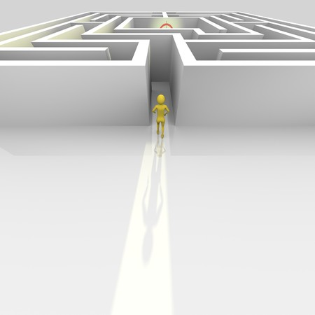 Man entering a labyrinth. Good for mission, challenge, vision or business tasks. photo