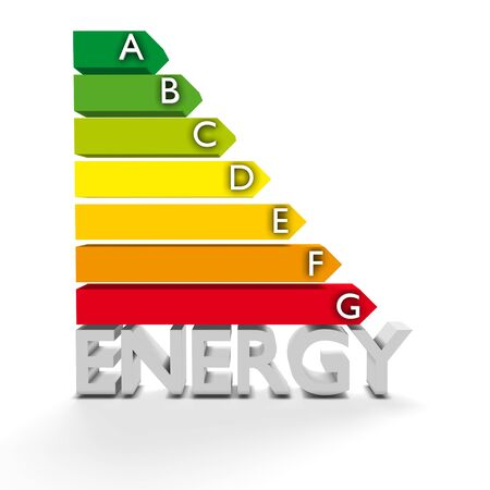 energy ranking: High resolution 3D European Union Energy Label for efficiency classification. Conceptual render for environment protection, conservation of resources and Energy or Power themes Stock Photo