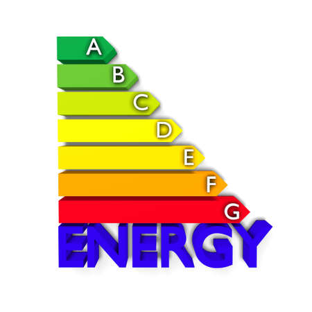 High resolution 3D European Union Energy Label for efficiency classification. Conceptual render for environment protection, conservation of resources and Energy or Power themes photo