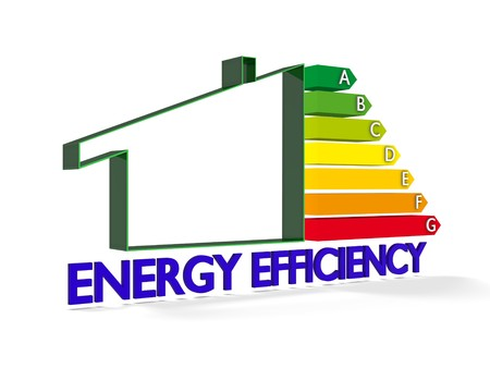 energy ranking: High resolution Energy chart with house symbol. Conceptual image for green architecture, energy or power saving and rating with copy space Stock Photo