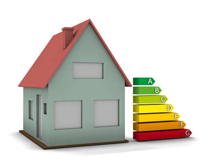 energy ranking: High resolution Energy chart with house. Conceptual image for green architecture, energy or power saving and rating with copy space