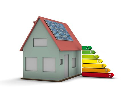 energy ranking: High resolution house with solar panel and Energy chart symbol. Conceptual image for green architecture, alternative energy or power saving and rating with copy space
