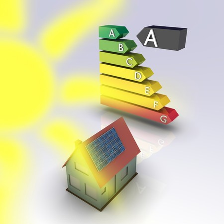 Solar house with energy chart. Concept image for alternative energy, green architecture, environment protection and saving themes. photo
