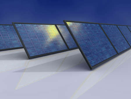 Solar power plant. Sun reflections in solar panel. Concept image for alternative energy, environment protection and saving themes. photo
