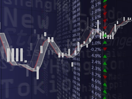 High resolution image of a financial chart. Concept image for stock exchange, finances and data. Stock Photo