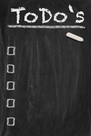 memo board: High resolution black chalkboard image with empty to do list. Conceptual illustration for managing the most important things. Copy space included.