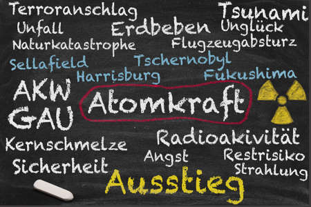 nuclear energy: High resolution image with some German chalk lettering around nuclear power. Conceptual image for Nuclear phaseout themes. Showing important relationships regarding nuclear energy risks. Stock Photo