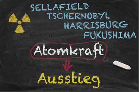 nuclear energy: High resolution image with some German chalk lettering around nuclear power. Conceptual image for Nuclear phaseout themes. Showing most important nuclear energy accidents like Chernobyl, Harrisburg and Fukushima.
