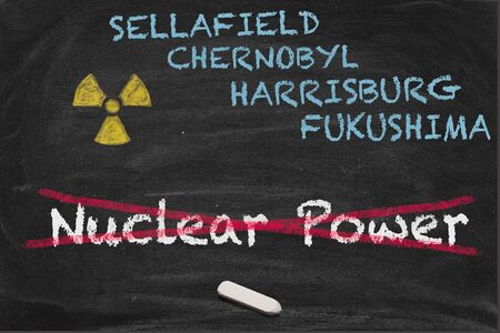 nuclear energy: High resolution image with some chalk lettering around nuclear power. Conceptual image for Nuclear phaseout themes. Showing most important nuclear energy accidents like Chernobyl, Harrisburg and Fukushima.
