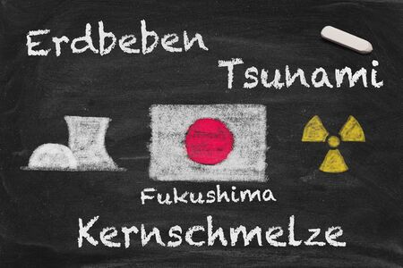 High resolution image with German chalk lettering about Fukushima meltdown. Conceptual image about the happenings at the nuclear power plant in Japan after the earthquake and tsunami. photo