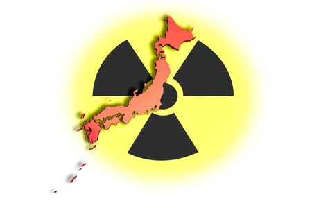 High resolution image with an outline map of Japan on radioactive symbol. Conceptual image about the Fukushima nuclear meltdown. Stock Photo - 9123360