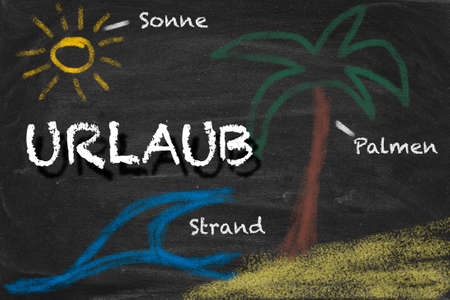 High resolution image with German chalk lettering and summer holiday related drawings. Illustration for vacation planning.