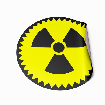 chernobyl: High resolution image of a sticker with radioactive symbol. Conceptual image for nuclear power or nuclear risk.