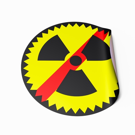 High resolution image of a sticker with crossed out radioactive symbol. Conceptual image for nuclear power phaseout or nuclear risk. Stock Photo - 9310712