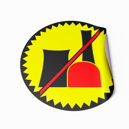 High resolution image of a sticker with crossed out nuclear power plant symbol. Conceptual image for nuclear power phaseout or nuclear risk. Stock Photo - 9310713