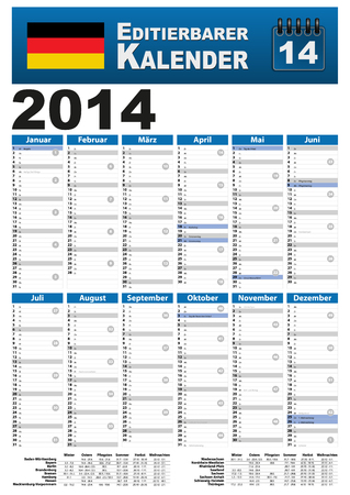 pay wall: Year 2014 calendar with holiday dates and holidays. Stock Photo