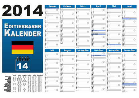 din: Year 2014 calendar with holiday dates and holidays. Stock Photo