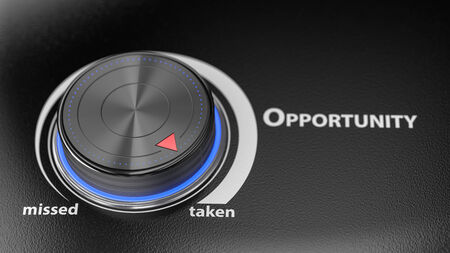 business opportunity: Opportunity level controler with blur effect. Render image for business and motivational concepts