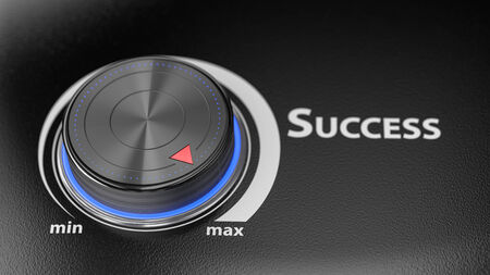 Success level controler with blur effect. Render image for business and motivational concepts Stock Photo