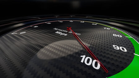 high speed internet: Internet speed with tachometer gauge. Render image