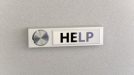 nameplate: Doorbell on concrete wall with help nameplate. Conceptional image for service, help and support questions